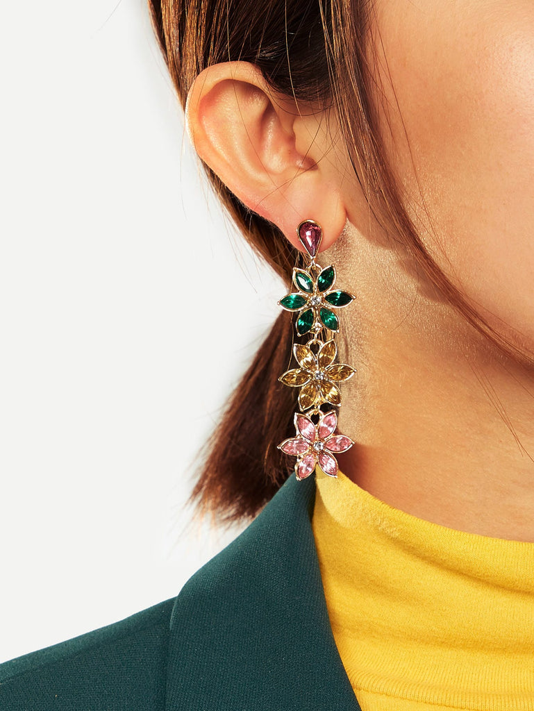 Triple Rhinestone Flower Drop Earrings 1pair