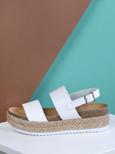 Double Band Sling Back Espadrille Trim Flatform Sandal WHITE