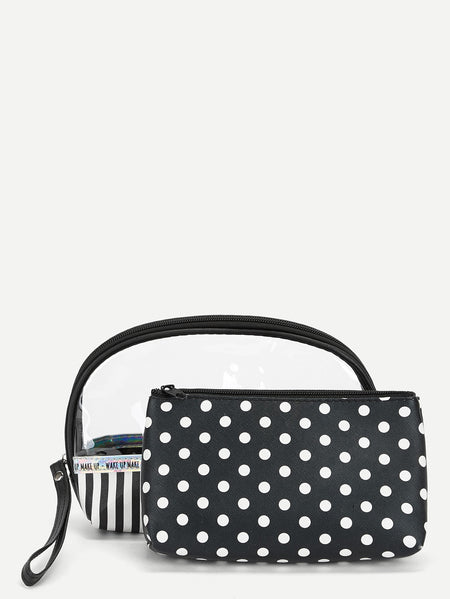 Polka Dot Print Makeup Bag Set 2pack