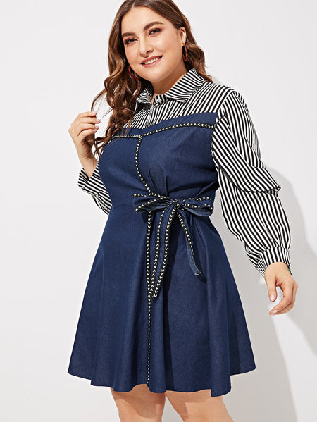 Plus Contrast Striped Print Knot Denim Dress