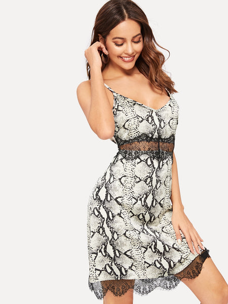 Snake Print Lace Panel Cami Dress
