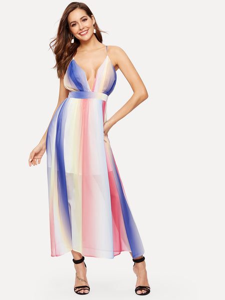 Criss-cross Back Colourful Chiffon Cami Dress