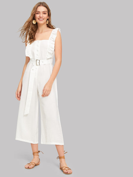 Button Front Ruffle Trim Jumpsuit With Belt