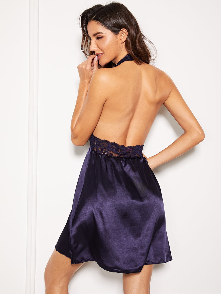 Scalloped Trim Contrast Lace Backless Dress With Thong