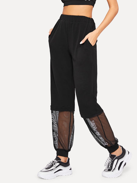 Mesh Panel Letter Embroidery Pants