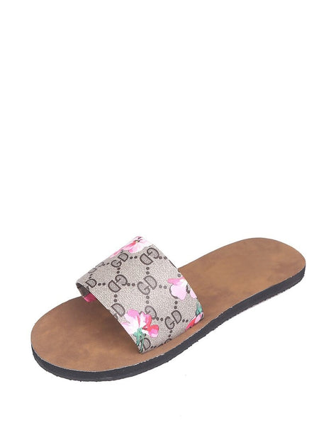 Floral Print Open Toe Sliders