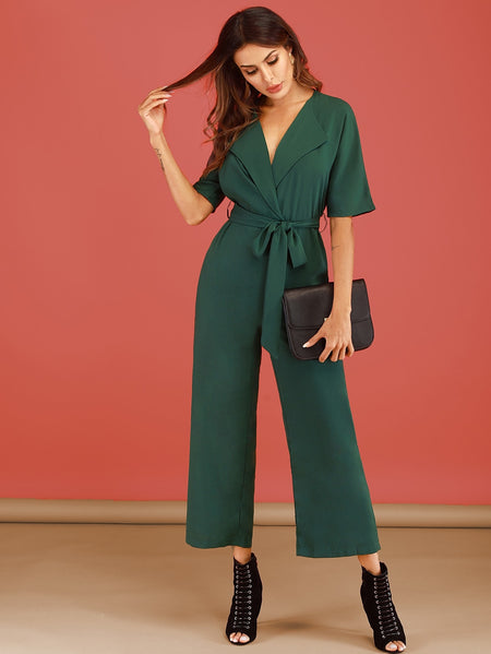 Surplice Front Self Tie Jumpsuit
