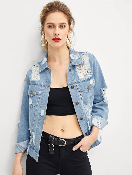 Flap Pocket Front Ripped Denim Jacket