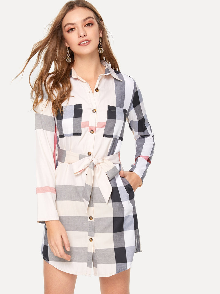 Plaid Curved Hem Self Tie Shirt Dress