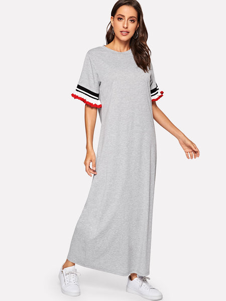 Contrast Striped Frill Longline Dress
