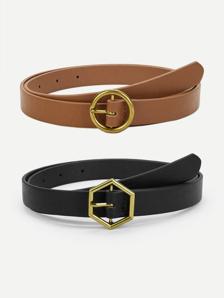 Geometric Buckle Belt 2pack