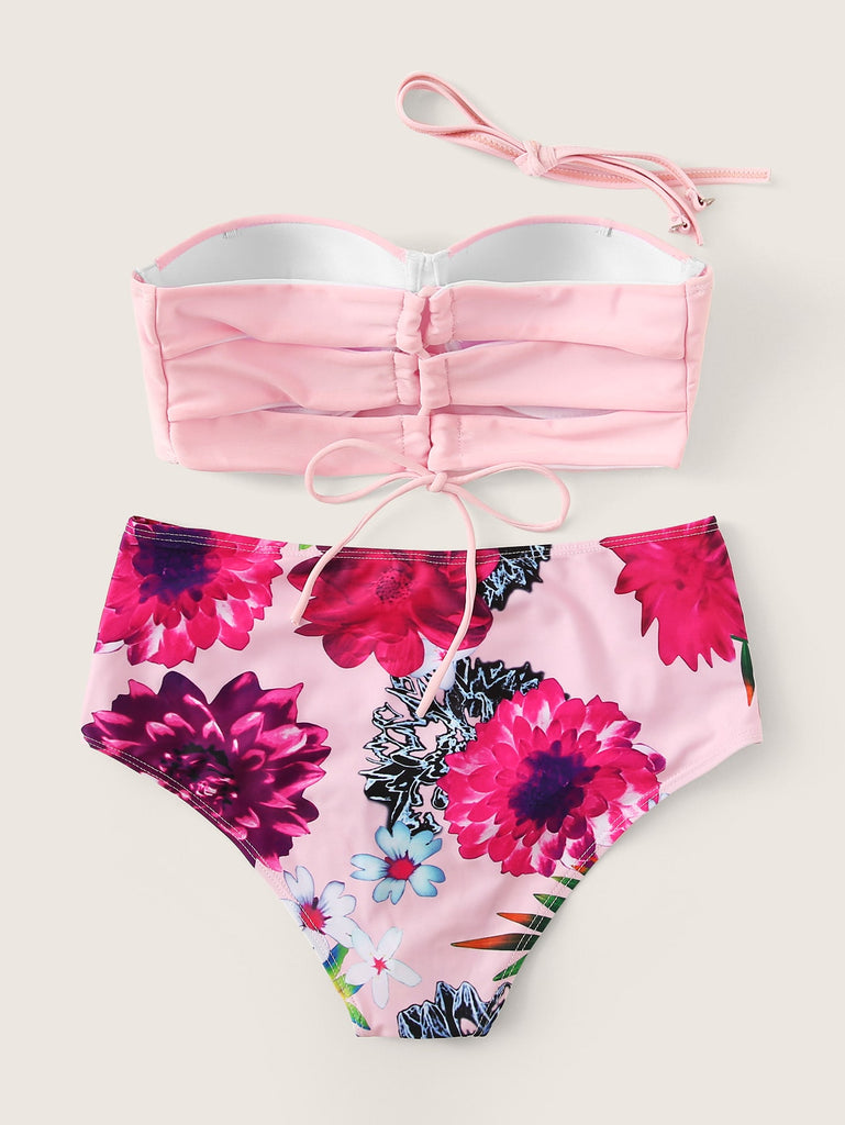 Underwire Bandeau With Floral High Waist Bikini Set