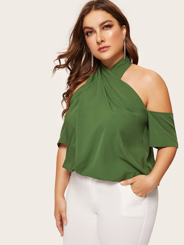 Plus Open Shoulder Cross Halter Top