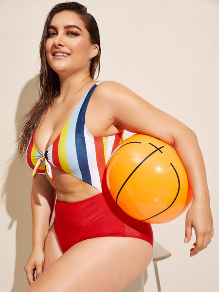 Plus Striped Cut-out One Piece Swimwear