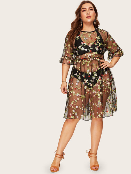 Plus Floral Embroidered Sheer Dress