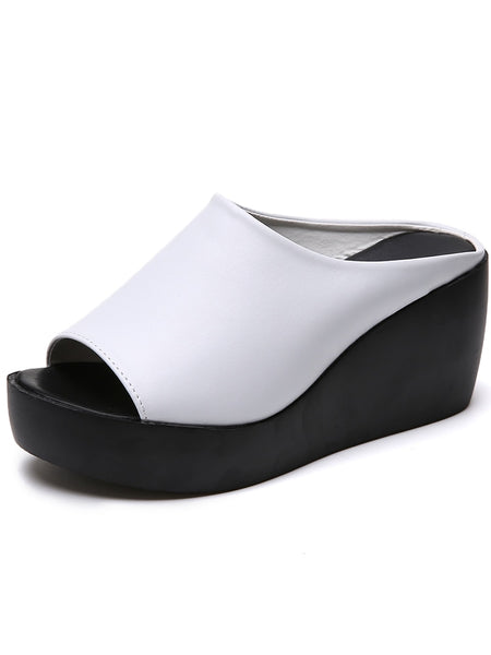 Two Tone Peep Toe Wedges