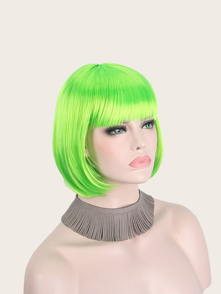 Neon Green Straight Bob Wig With Bangs
