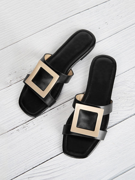 Buckle Decor Flat Slippers