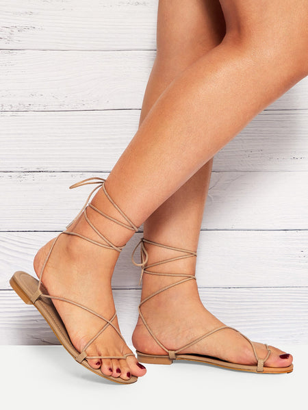 Criss Cross & Lace-up Flat Sandals