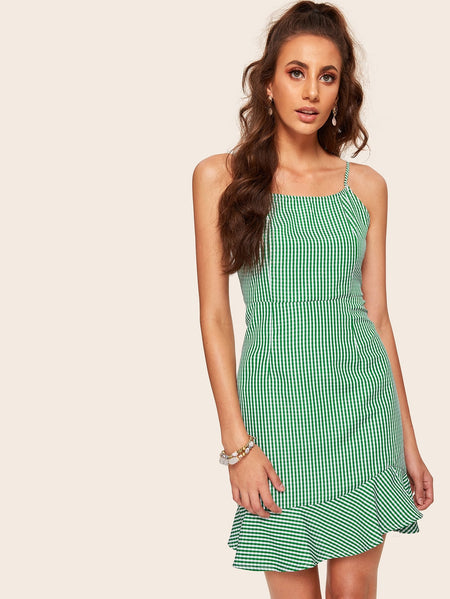 Gingham Plaid Ruffle Hem Cami Dress