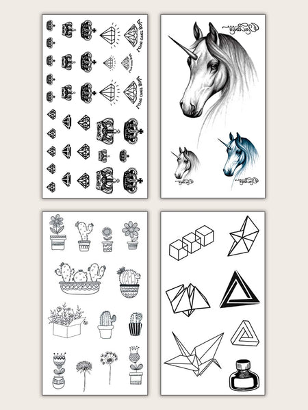 Mix Pattern Tattoo Sticker 4 Sheets