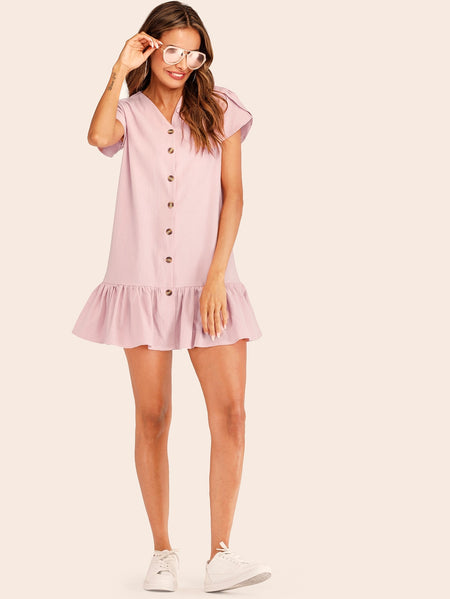 Single-breasted V-neck Ruffle Hem Dress