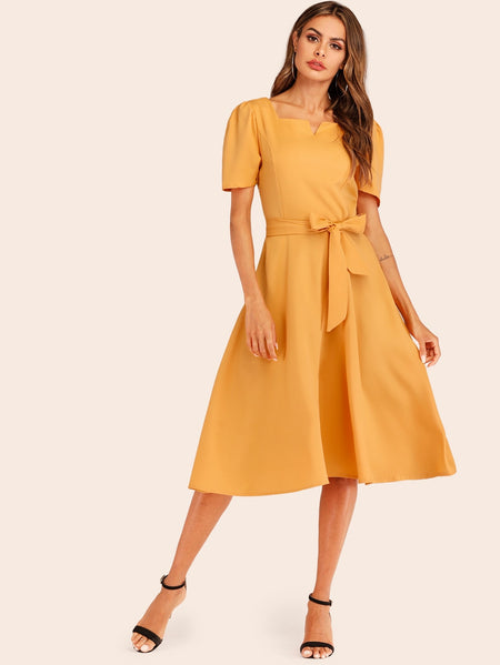 Solid Puff Sleeve Self Tie Dress