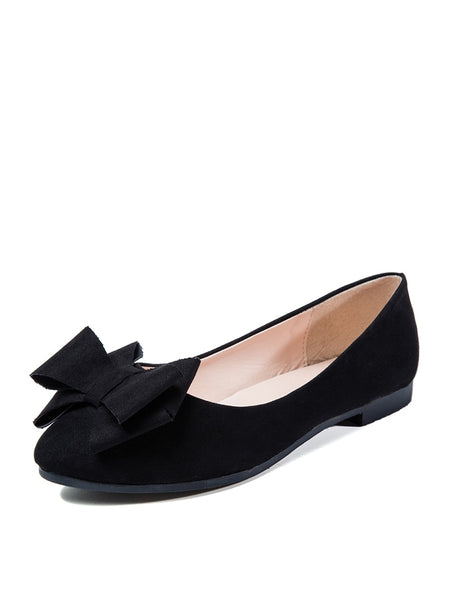 Bow Decor Pointed Toe Ballet Flats
