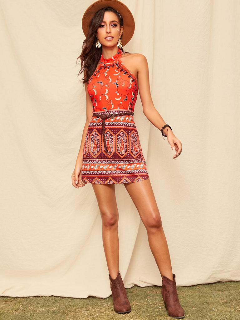 Paisley Backless Halter Dress