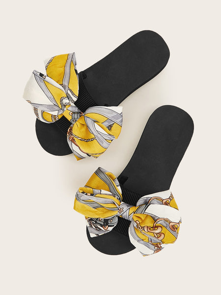 Open Toe Bow Decor Slippers