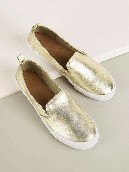 Metallic Detail Slip On Sneakers