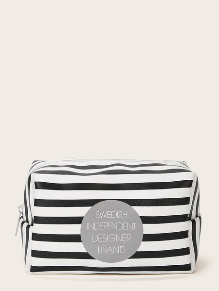 Letter Pattern Striped Makeup Bag