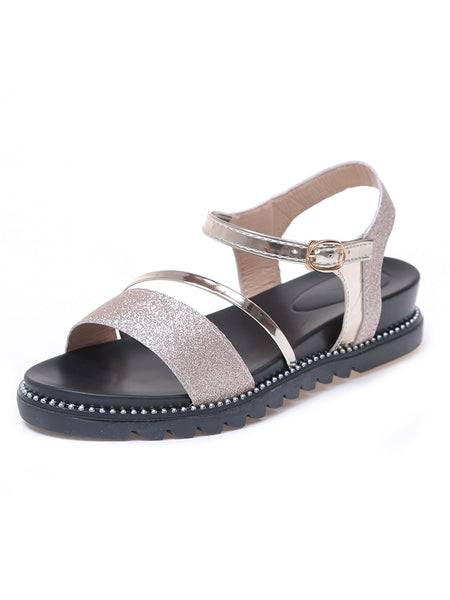 Metallic Detail Glitter Sandals