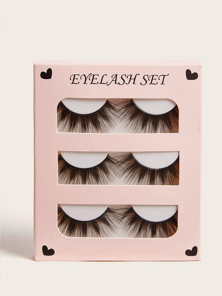 Natural Thick False Eyelashes 3pairs