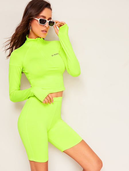 Neon Lime Letter Print Top & Cycling Shorts & Thumb Holes