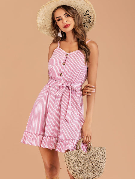 Striped Ruffle Hem Belted Cami Dress