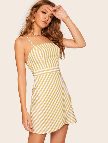 Striped Tulip Hem Criss Cross Cami Dress
