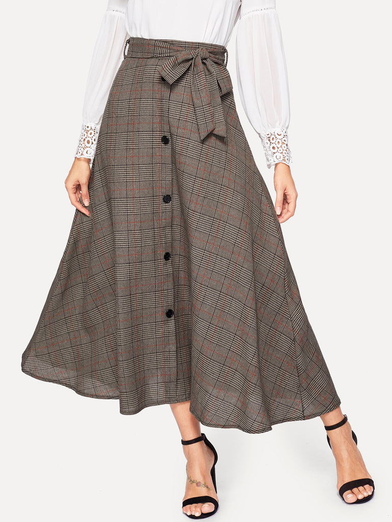 Plaid Waist Tie Single Breasted Flare Skirt