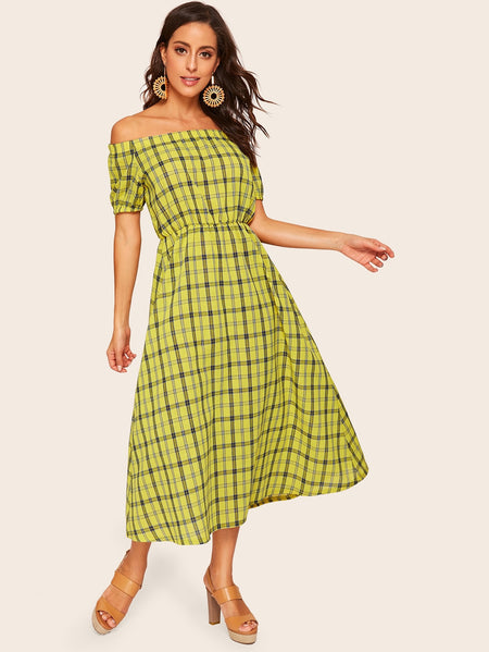 Plaid Elastic Waist Off the Shoulder Dress