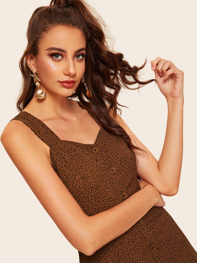 Button Front Leopard Print Sleeveless Dress