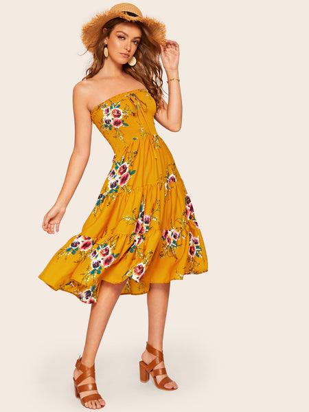 Floral Print Shirred Tube Dress