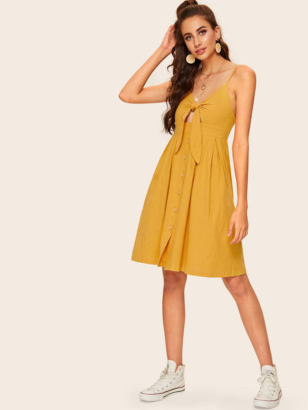Tie Front Shirred Cami Dress