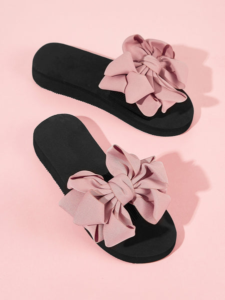 Bow Decor Open Toe Sliders