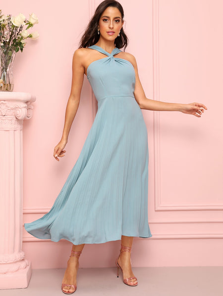 Twist Halter Neck Flowy Dress