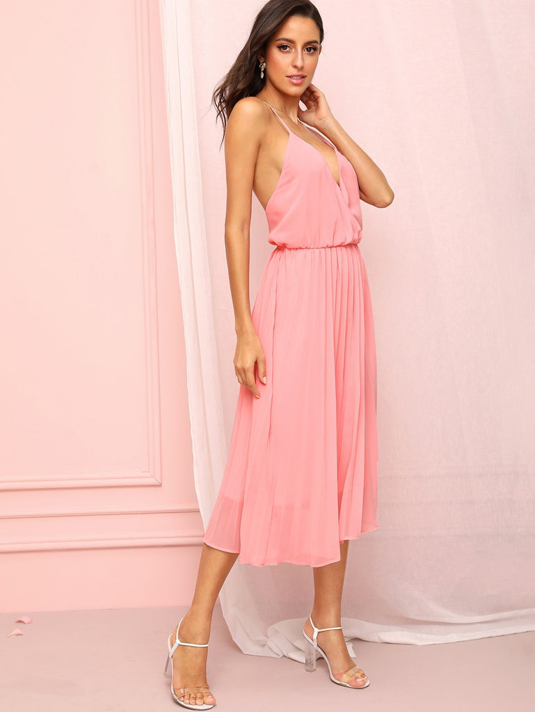 Surplice Front Backless Cami Dress