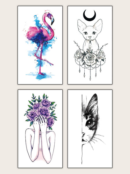 Animal & Figure Shaped Tattoo Sticker 4sheets