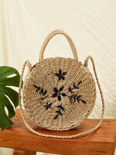 Leaf Embroidery Round Satchel Bag