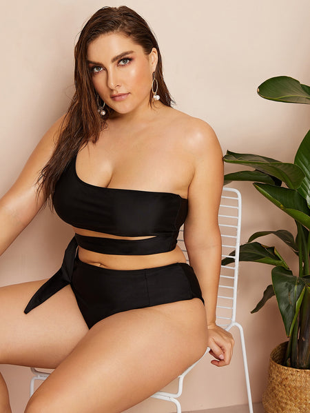 Plus One Shoulder Top With High Waist Bikini