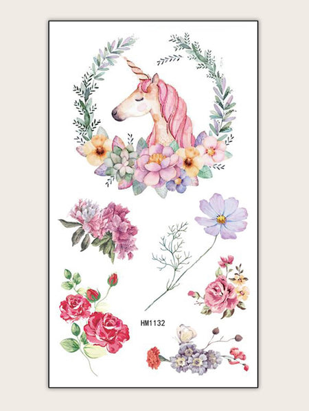 Unicorn & Flower Shaped Tattoo Sticker 1sheet