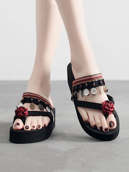 Floral Decor Toe Ring Sliders